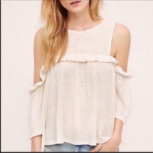 Anthropologie Meadow Rue Cold Shoulder Linen Shirt